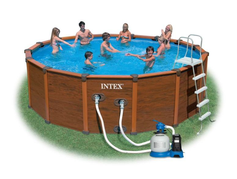 Intex Recreation Wood-Grain Frame Pool 569x135cm Set-ECO 54930